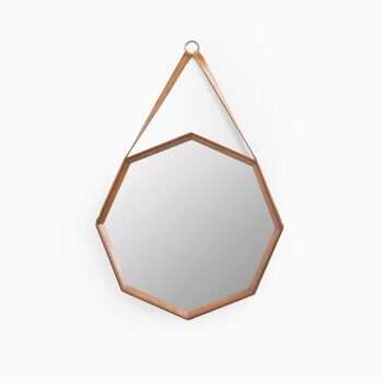 Octagonal teak mirror with leather strap and brass at Studio Schalling
