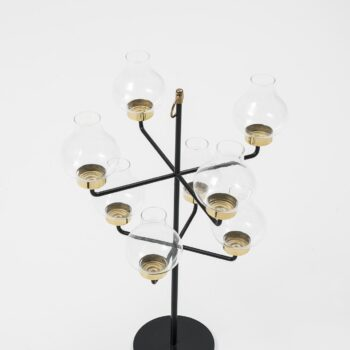 Anders Pehrson candlestick in brass and glass at Studio Schalling