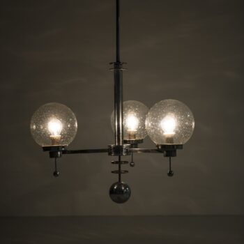 Big pair of Art Deco ceiling lamp in chromed steel at Studio Schalling