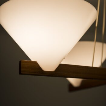 Hans-Agne Jakobsson ceiling lamp in teak and plastic at Studio Schalling