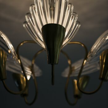 Mid century ceiling lamp in brass and glass at Studio Schalling