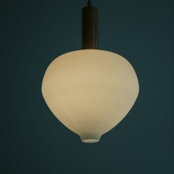 Mid century ceiling lamps in copper and white opal glass at Studio Schalling