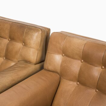 Arne Norell Merkur easy chairs in cognac brown leather at Studio Schalling