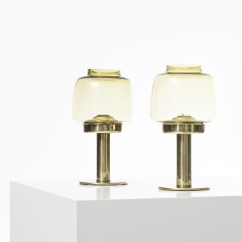 Hans-Agne Jakobsson candlesticks in brass and glass at Studio Schalling