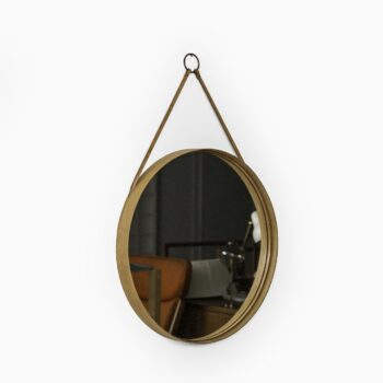 Mirror in oak, brass and leather by Glas mäster at Studio Schalling