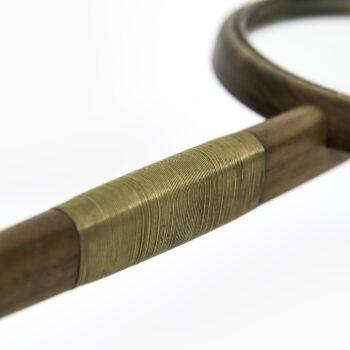 High quality hand mirror in walnut and brass wire at Studio Schalling