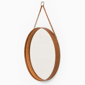 Round mirror in teak and leather by Glas mäster at Studio Schalling
