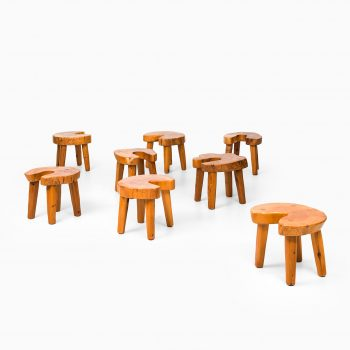 Brutalist stools / side tables in oregon pine at Studio Schalling