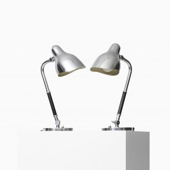 Vilhelm Lauritzen table lamps in chromed steel at Studio Schalling