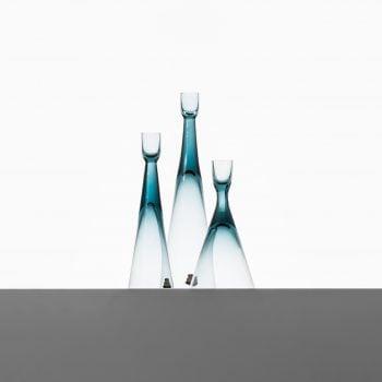 Bengt Edenfalk glass candlesticks by Skruf at Studio Schalling