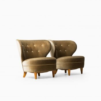 Carl-Johan Boman easy chairs in mohair velvet at Studio Schalling