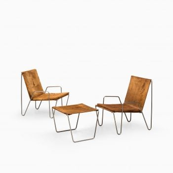 Verner Panton Bachelor easy chairs in suede at Studio Schalling