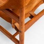 Hans Olsen easy chairs in teak and suede at Studio Schalling