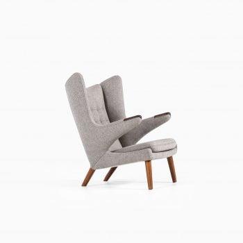 Hans Wegner Papa bear chair in teak and grey at Studio Schalling