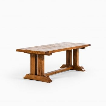 Large art deco dining table in oak at Studio Schalling