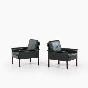 Hans Olsen easy chairs in green leather at Studio Schalling