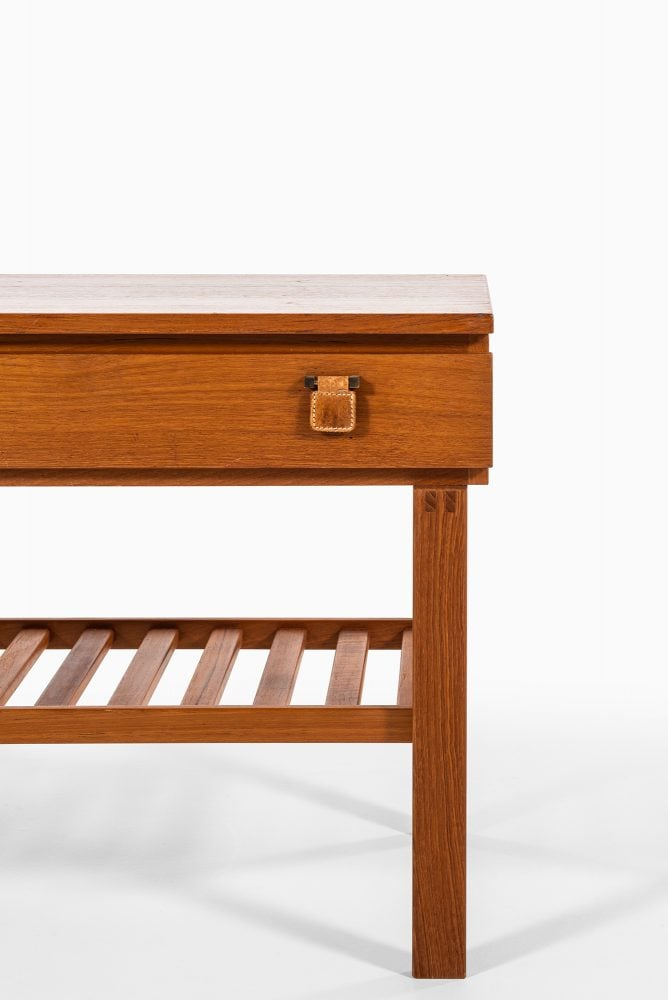 Small sideboard in teak, brass and leather at Studio Schalling