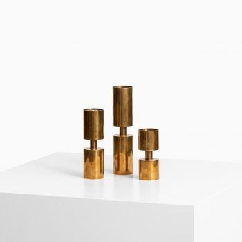 Thelma Zoéga set of 3 candlesticks in brass at Studio Schalling