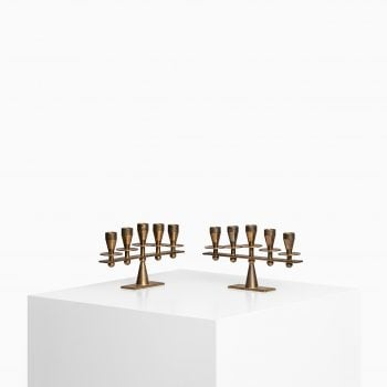 Pair of heavy candlesticks in brass by Kara at Studio Schalling