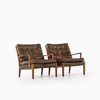Arne Norell Löven easy chairs in walnut at Studio Schalling