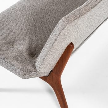 Sofa in teak with grey wool fabric at Studio Schalling