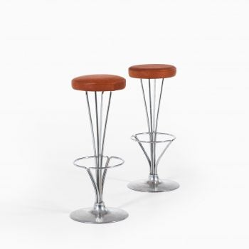 Piet Hein bar stools in chromed steel at Studio Schalling