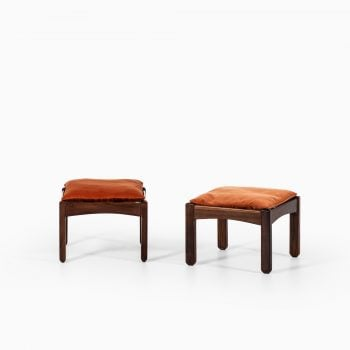 Pair of stools in rosewood and velvet at Studio Schalling