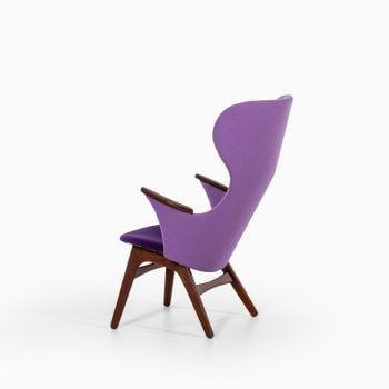 Danish easy chair in teak with purple fabric at Studio Schalling