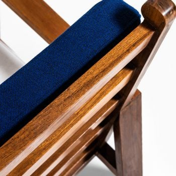Pair of easy chairs in teak and fabric at Studio Schalling