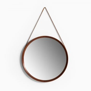 Round mirror in teak and brown leather at Studio Schalling