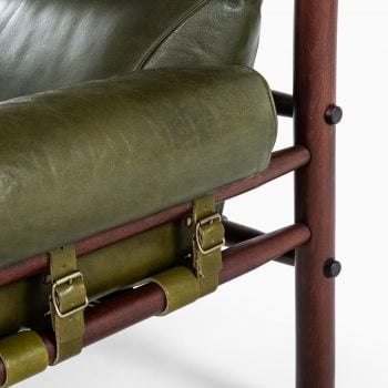 Arne Norell Inca easy chair in green leather at Studio Schalling