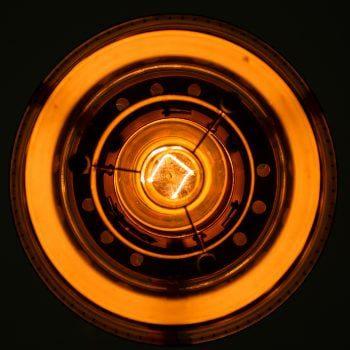 Kay Kørbing ceiling lamp in brass by Lyfa at Studio Schalling