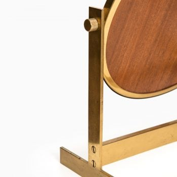 Table mirror in brass and teak at Studio Schalling