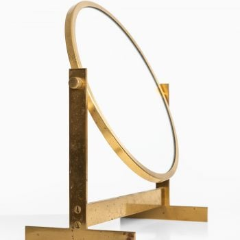 Table mirror in brass and teak at Studio Schalling