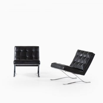Sam Larsson easy chairs in black leather at Studio Schalling