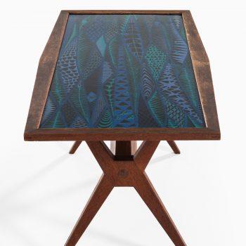 Stig Lindberg coffee table in oak and enamel at Studio Schalling