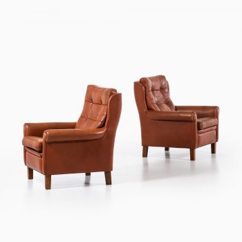 Arne Norell easy chairs in buffalo leather at Studio Schalling