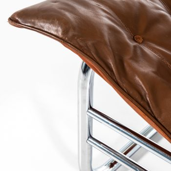 Easy chair in chromed steel and leather at Studio Schalling