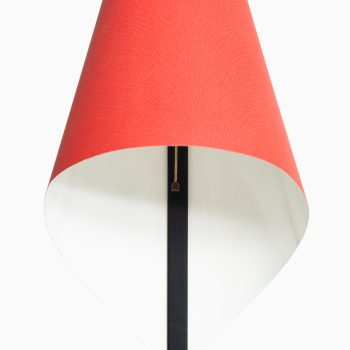 Table lamp with red lacquered metal at Studio Schalling