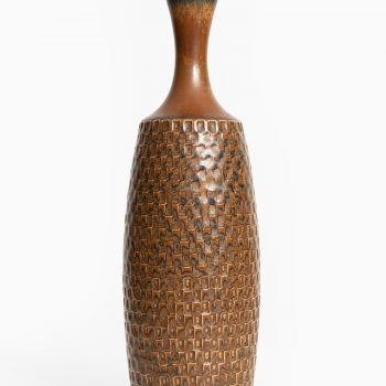 Stig Lindberg ceramic vase in brown glaze at Studio Schalling
