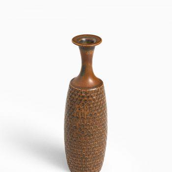 Stig Lindberg ceramic vase in brown glaze at Studio Schalling