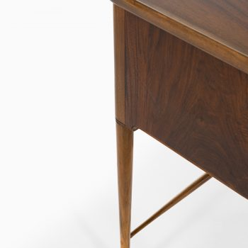 Freestanding desk in walnut, mahogany and brass at Studio Schalling