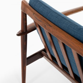 Grete Jalk sofa in rosewood and blue fabric at Studio Schalling