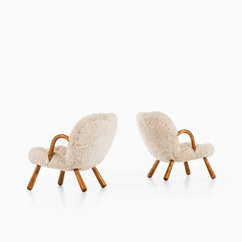 Philip Arctander clam easy chairs in sheepskin at Studio Schalling