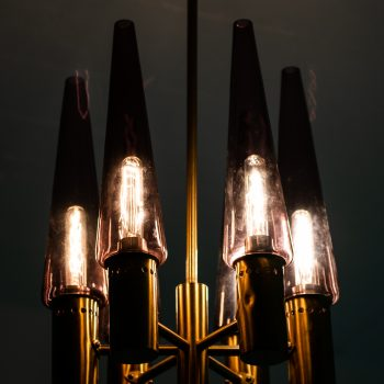 Hans-Agne Jakobsson ceiling lamp in brass and purple glass at Studio Schalling