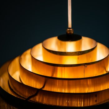 Hans-Agne Jakobsson ceiling lamp in brass and silk at Studio Schalling
