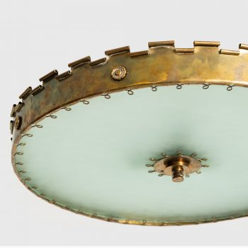 Flush mount ceiling lamp in brass and glass at Studio Schalling