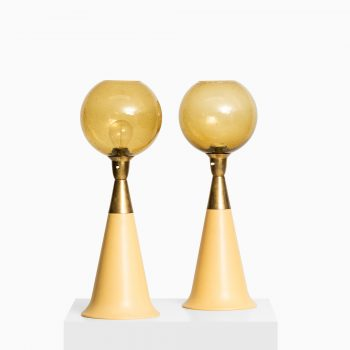 Pair of table lamps in brass, glass and yellow plastic at Studio Schalling