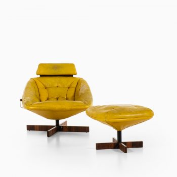 Percival Lafer easy chair in rosewood and yellow leather at Studio Schalling