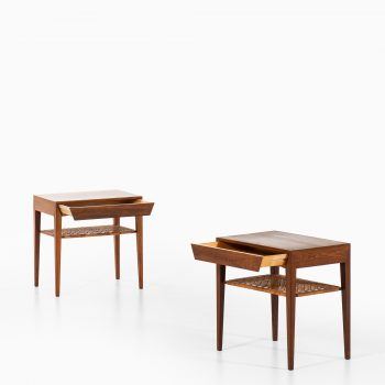 Severin Hansen bedside tables in rosewood and cane at Studio Schalling
